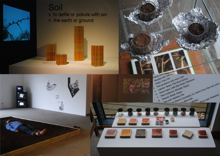 Composite image showing work by Jonathan Baxter, Dalziel and Scullion, Sarah Gittins, Jan Hendry, and Ashley Nieuwenhuizen - 'Soil', Hannah Maclure Centre, 2011